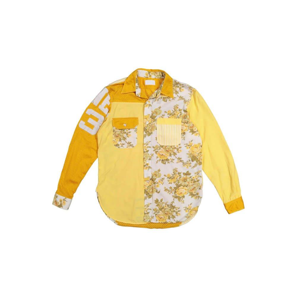 Mens Dress Shirt Multicoloured Pattern yellow Flat Lay Photograph