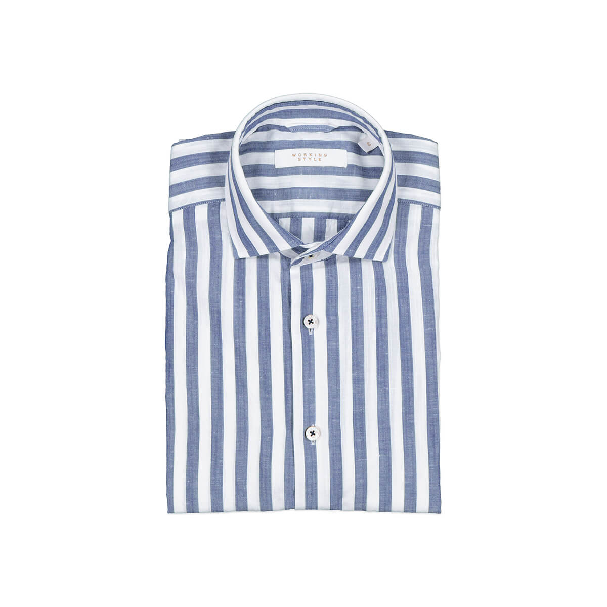 Blue striped shirt from Working Style Mens
