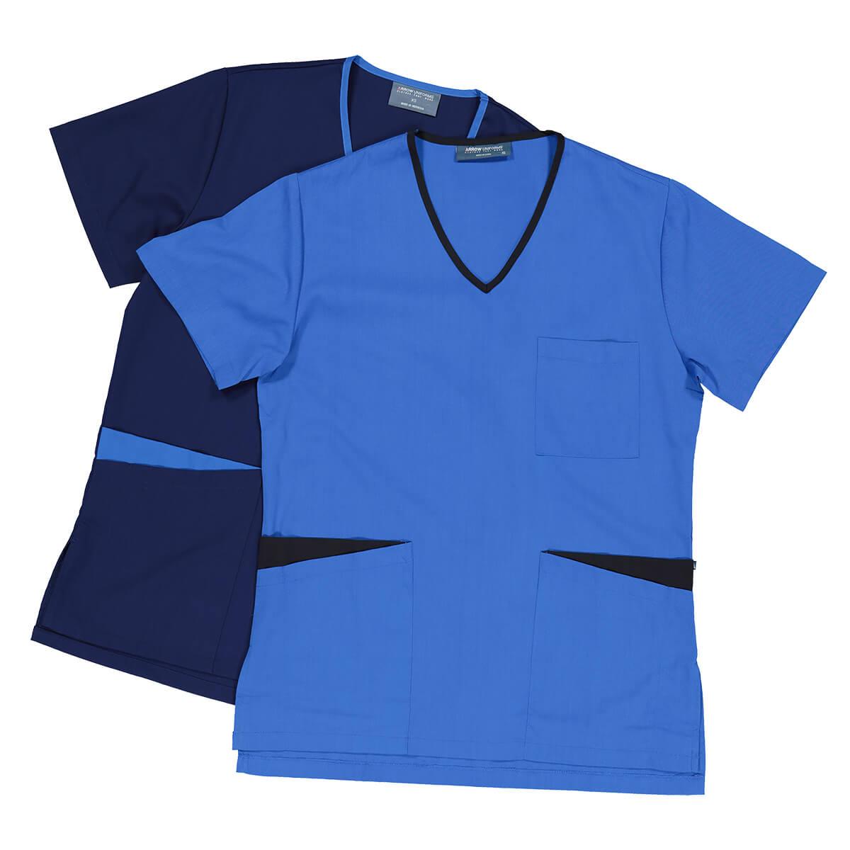 Nurse uniforms in light blue and dark blue photography flat lay