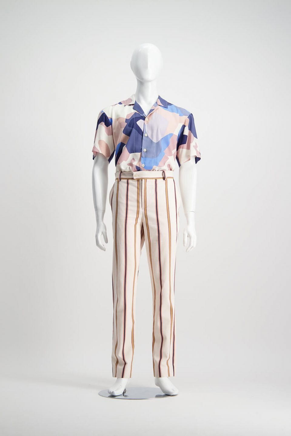 Mens striped pants with a pastel multi coloured shirt tucked in from WORLD brand