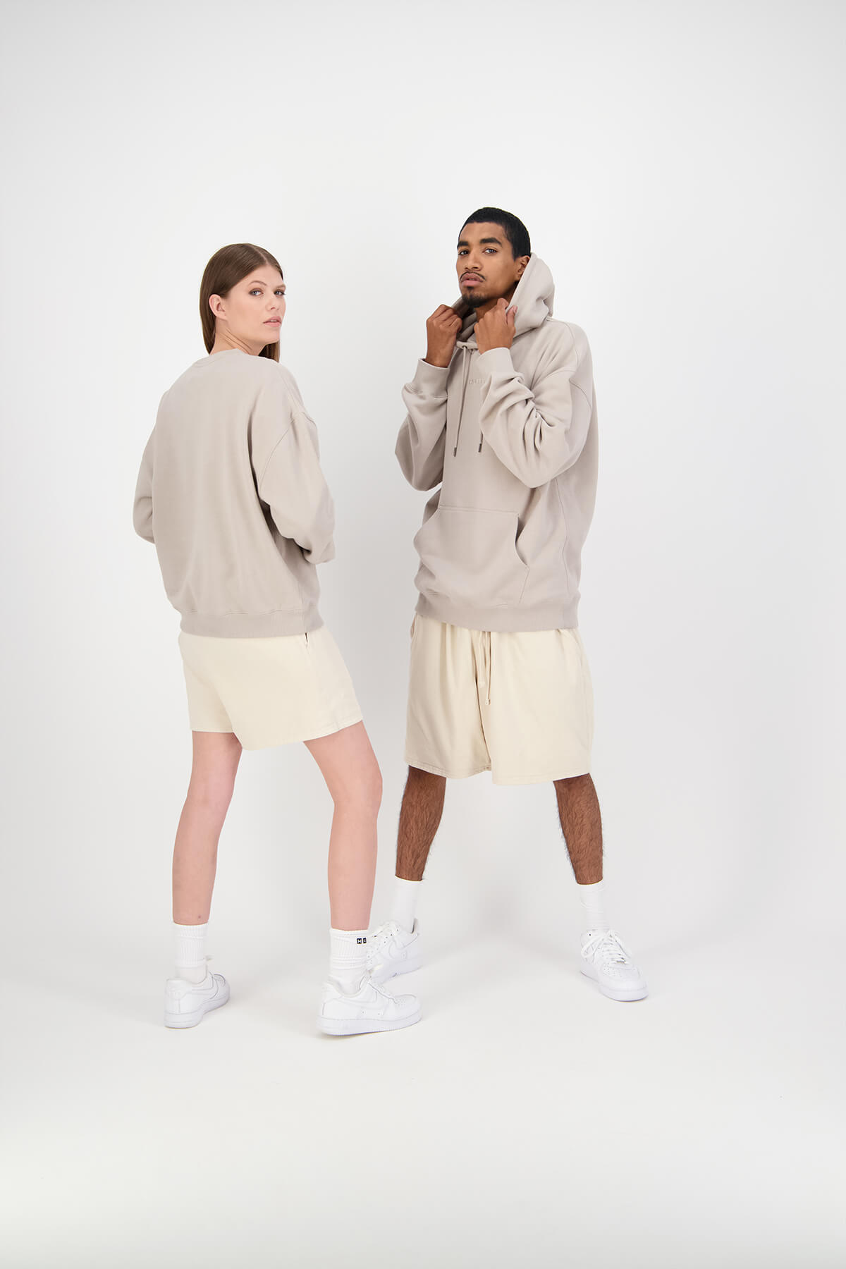Huffer models wearing brown streetwear fashion studio photography and video