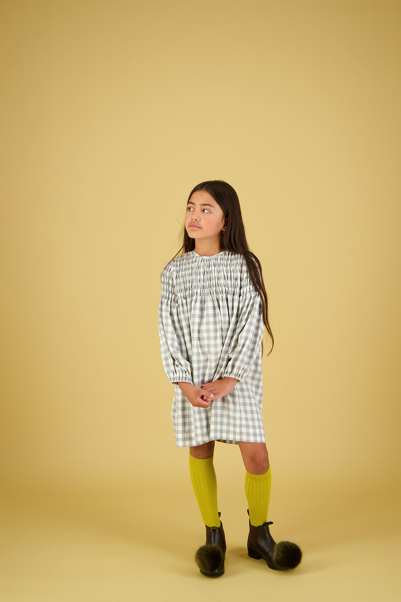 Carbon Soldier girl model wearing check dress