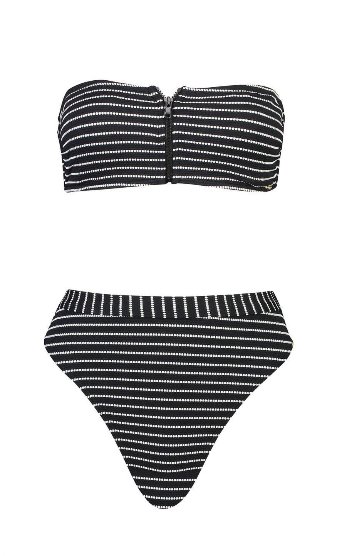 Black and white striped strapless bikini on mannequin