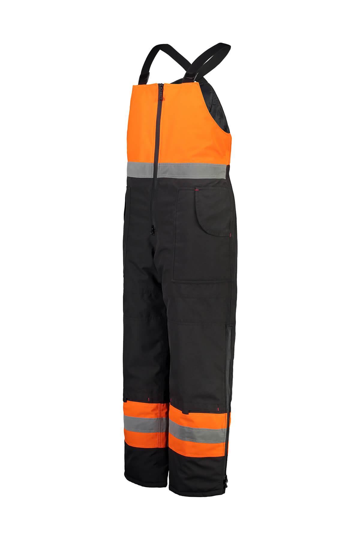 Mannequin photography of mens overalls workwear in orange Fluro
